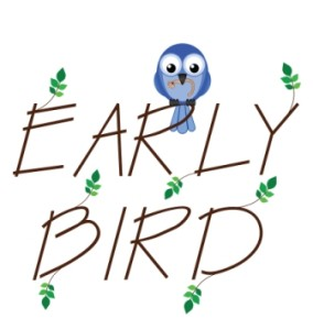 Early bird catches the worm twig text