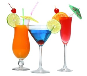Three cocktails cutout, isolated on white background